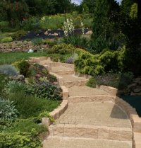 Ogród, schody, kostka brukowa