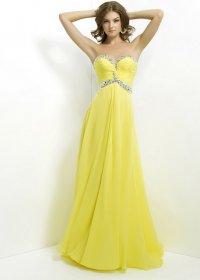 żółta sukienka wieczorowa